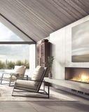 Salon moderne avec le regard sur l'arrière-cour avec la piscine et le jardin illustration libre de droits