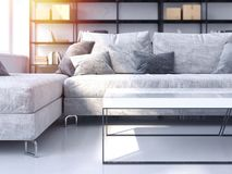 Salon moderne avec le sofa confortable rendu 3d Photographie stock libre de droits