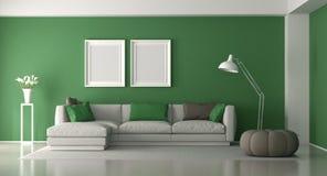 Salon moderne blanc et vert illustration stock