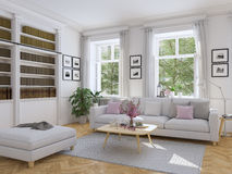 Salon moderne dans la maison urbaine rendu 3d Photos stock