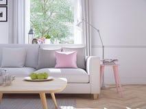 Salon moderne dans la maison urbaine rendu 3d Photo libre de droits