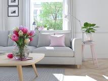 Salon moderne dans la maison urbaine rendu 3d Photographie stock libre de droits