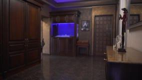 Salon moderne dans un nouvel appartement avec les meubles en bois, l'aquarium decoratian et bleu minimal avec éclairé à contre-jo banque de vidéos