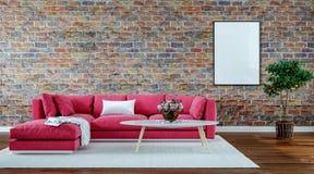 Salon moderne de conception intérieure, vieux mur de briques, rétro style, sofa rouge images stock