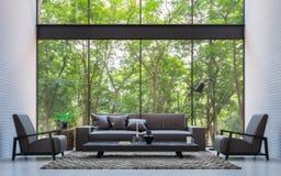 Salon moderne de grenier avec l'image de rendu de la vue 3d de nature Image stock
