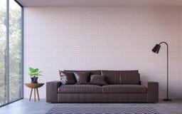 Salon moderne de grenier avec l'image de rendu de la vue 3d de nature illustration libre de droits