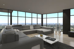 Salon moderne impressionnant de grenier | Intérieur d'architecture Photos libres de droits