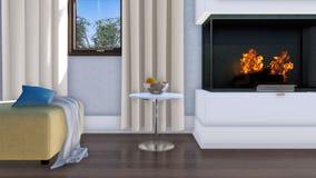 Salon moderne lumineux avec la cheminée 4K en gros plan illustration libre de droits
