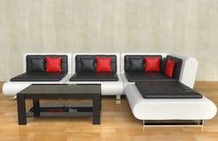 Salon moderne - oreillers rouges illustration stock