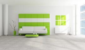 Salon moderne vert et blanc illustration stock
