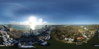 Salon nautique international 2018 de Miami Beach du panorama 360 sphérique Photographie stock