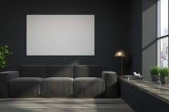 Salon noir de grenier, sofa gris, affiche illustration stock