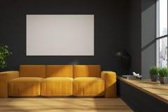 Salon noir de grenier, sofa jaune, affiche illustration stock