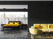 Salon noir et blanc et chambre à coucher, jaunes illustration stock