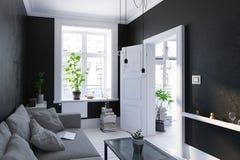 Salon noir intérieur, style scandinave Image libre de droits