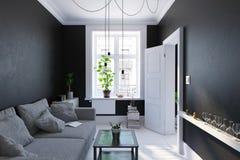 Salon noir intérieur, style scandinave Photo stock