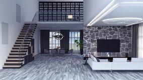 Salon, rendu de la conception intérieure 3D Photo stock