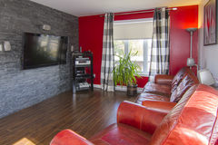 Photo stock red and grey living room image - Salon mur rouge et gris ...
