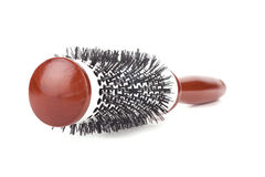Salon round hairbrush. On white background Stock Photos