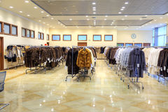 Salon on the sale of fur fur coats royalty free stock photography