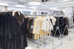 Salon on the sale of fur fur coats Stock Photography