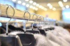 Salon on the sale of fur fur coats Royalty Free Stock Photos