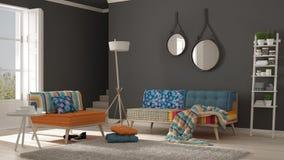 Salon scandinave avec le divan, le fauteuil et doux colorés photos libres de droits
