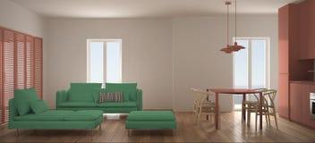 Salon scandinave minimaliste avec la cuisine et la table de salle à manger, le sofa, le pouf et la chaise longue, fenêtre panoram illustration stock