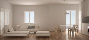 Salon scandinave minimaliste avec la cuisine et la table de salle à manger, le sofa, le pouf et la chaise longue, fenêtre panoram illustration libre de droits
