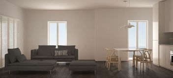 Salon scandinave minimaliste avec la cuisine et la table de salle à manger, le sofa, le pouf et la chaise longue, fenêtre panoram illustration de vecteur