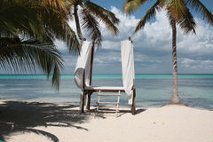 Salon spa on the beach. Bed in salon spa placed on the beach with sea and sky on the background Stock Photography