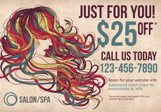 Salon Spa postcard template with coupon. Salon postcard with coupon discount advertisement showing beautiful woman with long colorful hair Royalty Free Stock Photography