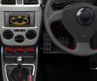 Salon of a sports car. The dashboard and its individual parts. 3D illustration. stock illustration