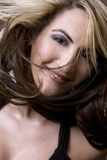 Salon style. Healthy beautiful long hair in motion created by wind, fashion look Stock Photo