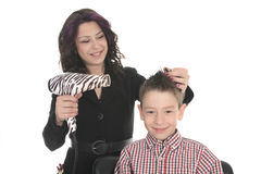 Salon Style - Hairdresser in studio white Stock Images