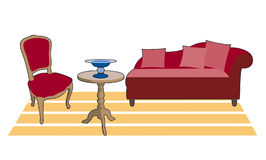 Salon-style red. Retro furniture, sofa table and chair Stock Illustration