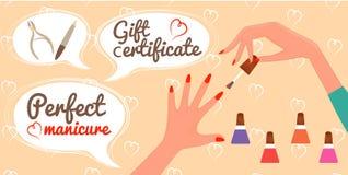 Salon van de de Manicurespijker van het giftcertificaat de Perfecte Stock Afbeeldingen