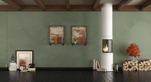 Salon vert avec le fourneau en bois Images stock