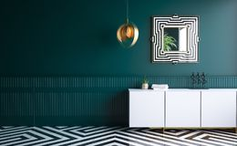 Salon vert-foncé moderne illustration stock