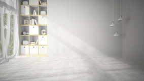 Salon vide avec le rendu blanc du plancher de parquet 3D Image libre de droits