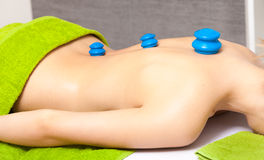 Salon. Woman getting spa cupping vacuum massage Royalty Free Stock Photo