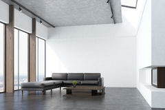 Salone bianco con un sofà, lato illustrazione vettoriale