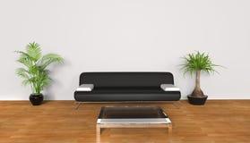 Salone bianco - sofà nero Fotografia Stock