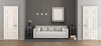 Salone classico bianco e grigio Immagini Stock Libere da Diritti