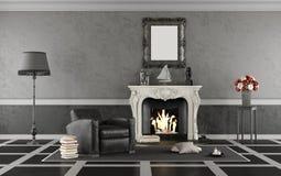 Salone classico in bianco e nero con il camino Immagine Stock Libera da Diritti