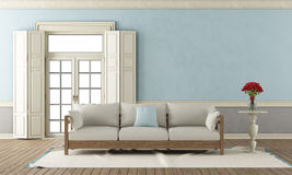 Salone classico blu e grigio Immagine Stock