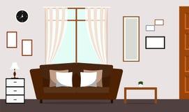 Salone classico con l'interno del sofà di Brown Fotografie Stock
