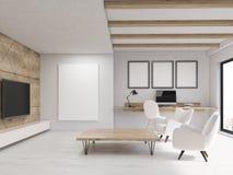 Salone con gli elementi di legno Fotografie Stock Libere da Diritti