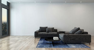 Salone con Gray Sofa in appartamento moderno Immagine Stock Libera da Diritti