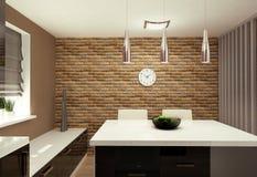 salone con il cucinino Fotografia Stock Libera da Diritti